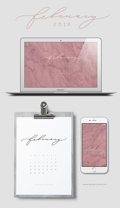 Download free desktop, mobile, and printable calendar for February 2018 | © typeandgraphicslab.com | For personal use only