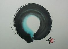 Enso Circle 5 x 7 in. watercolor and sumi ink on rice paper by Janine Ibbotson Ace Of Pentacles, Zen Symbol, Rune Symbols, Mandala Meditation, Sumi Ink, Mystique, Zen Art, Circle Of Life, Calligraphy Art