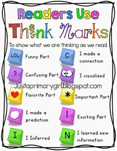 Think Mark Anchor Chart. Great to use as symbols to put on sticky notes for close reading. Reading Lessons, Reading Skills, Reading Resources, Reading Activities, Math Lessons, Teaching Reading Strategies, Reading Buddies, Thinking Strategies, Reading Games
