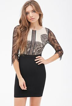 Lace-Paneled Combo Dress | FOREVER21 - 2000137179