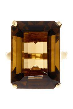 Emerald Cut Smokey Quartz Ring