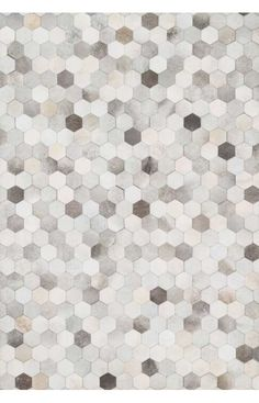 This hand stitched, graphic rug is a one-of-a-kind, contemporary twist on cowhide. Shades of grey, ivory and beige hide are arranged in a hexagon pattern. Floor Patterns, Tile Patterns, Textures Patterns, Tiles Texture, 3d Texture, Molduras Vintage, Stoff Design, Modern Area Rugs, Cow Hide Rug