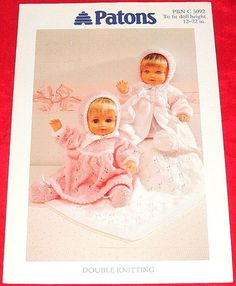 1 of 1: PATONS DK Knitting Pattern..DOLLS CLOTHES 12 TO 22 INCH BABY DOLL