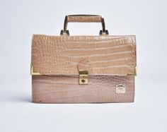 70s tan crocodile leather handbag purse by persephonevintage, $46.00