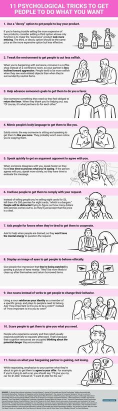 Psychology infographic and charts How to Get People to do What You Want -- Use any of these psychological triggers. Infographic Description How to Get Do What You Want, How To Get, How To Plan, Life Skills, Life Lessons, Coaching, How To Influence People, Psychology Facts, Psychology Questions