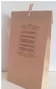 50 x Brown Paper Lolly / Candy Bag - Hand Stamped 'Love is Sweet Enjoy Some Treats Thank you for Making our Day Complete' Wedding Engagement on Etsy, $25.25