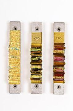 Warm Toned Mezuzah: Alicia Kelemen and Beatriz Kelemen: Art Glass Mezuzah - Artful Home