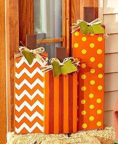 Decorative Wooden Pumpkins Porch Decor Autumn Harvest Fall Thanksgiving Home