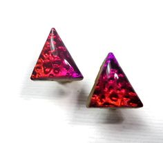 Triangle Stud Earrings Polymer Clay Earrings Resin by BeadazzleMe