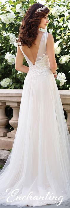 Enchanting by Mon Cheri Spring 2017 Wedding Gown Collection - Style No. 117176 - sleeveless tulle and lace A-line wedding dress with low V-back