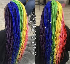 Braids Africanas Arcoiris New Ideas Black Girl Braids, Braids For Black Women, Braids For Black Hair, Girls Braids, Braided Ponytail Hairstyles, Braided Hairstyles For Wedding, Box Braids Hairstyles, Rainbow Braids, Rainbow Hair