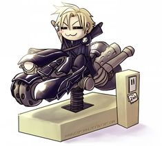he looks like a chibi Vash the Stampede. If only, but I bet there wouldn't be enough Gil to get Cloud to do something like this 😂