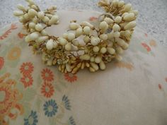 Antique art deco french large bride tiara wax blossom flower + earrings