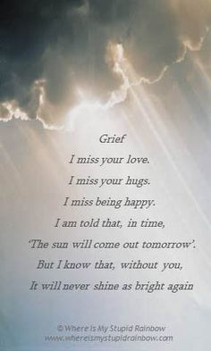 I miss your love. I miss your hugs. I miss being happy. I'm told that, in time 'The sun will come out tomorrow.' But I know that, without you, it will never shine as bright again.
