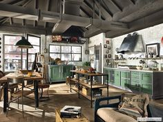 D co maison industrielle on pinterest deco cuisine and loft for Cuisine industrielle