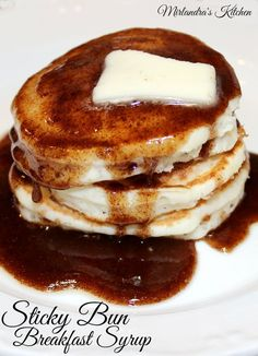 This Sticky Bun Breakfast Syrup tastes exactly like warm sticky bun sauce got poured on your pancakes. It is rich, full of cinnamon and ready in minutes.  Making a pan of sticky buns takes hours.  This is instant gratification and I love it!