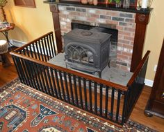 Handcrafted One Of A Kind Baby Safety Hearth Gate, Welded Steel & Solid Mahogany Indoor Gates, Wood Stove Hearth, Tv Over Fireplace, Baby Gates, Baby Safety, Home Reno, House Plans, Home Improvement, New Homes