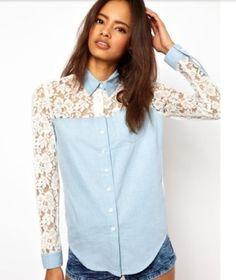 camisa feminina com renda