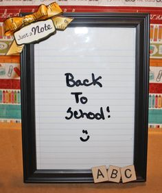 Grab a frame, put a piece of loose leaf paper behind it & you've got a DIY dry-erase board in seconds!