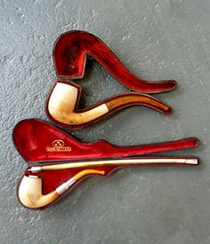 Two large meerschaum pipes of standard form