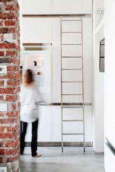 White kit hen. Mini apartment milanwhite kitchen, ladder stair kitchen