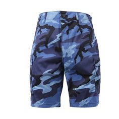 These Sky Blue Camo BDU Military Shorts are multi pocketed and and are adjustable to fit. These shorts are made of poly cotton twill with adjustable pull tab waist, six pocketed two front slash pockets, two pleated bellows style pockets, two rear flap pockets and a button fly. These Sky Blue Camo Shorts have that splash of style function fashion and everyday casual wear.