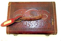 Vintage Tooled Leather Train Case with by honeyblossomstudio, $189.95