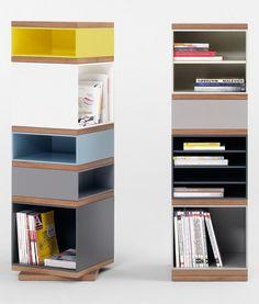 Swivel #bookcase TOTEM by @Pastoe Furniture | #design Vincent Van Duysen #books