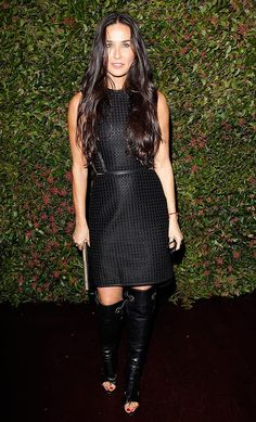 I can't believe Demi Moore is 50. She looks amazing sporting this super sexy Ferragamo ensemble to an A-list party...