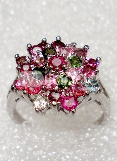 Fabulous Flower Colorful Silver Gemstone Ring For Women  Price: $87.99
