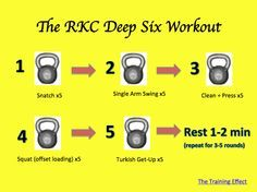 The RKC Deep Six Kettlebell Workout is a workout that is more effective for stripping fat than most of the mainstream workouts posted in mainstream magazines. The movements are fundamental but the results are big.