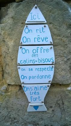 pancarte en bois poisson et son message : Décorations murales par ptitecrea