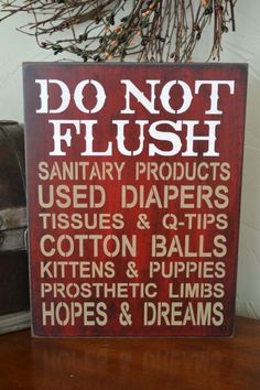 Do Not Flush Septic System Rules Sign by CreativeTouchWood on Etsy, $22.95