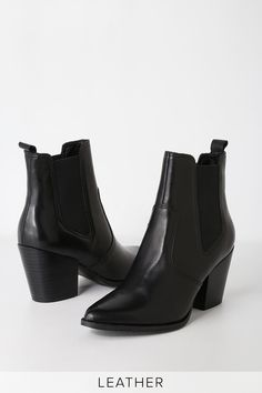 5f123f2540c Make an elevated entrance in the Steve Madden Patricia Black Leather  Chelsea Boot! Genuine leather