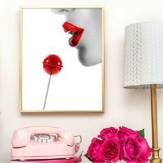 Woman Face Red Lips Wall Art Canvas Posters Prints Fashion Feminine Model Woman Girl Painting Vogue Picture Modern Home Decor Canvas Poster, Canvas Wall Art, Poster Prints, Posters, Nordic Art, Painting Of Girl, Minimalist Art, Woman Face, Red Lips