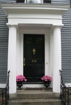 A beautiful front door entry - Salem, MA Beautiful Front Doors, Unique Doors, Entry Doors, Front Entry, Front Porch, Creaky Floors, Urban Cottage, New England Homes, Front Entrances