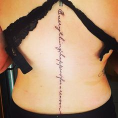Everything happens for a reason spine tattoo