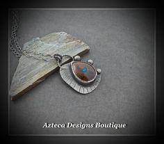 Tidal~ Boulder Opal Argentium Silver Artisan Necklace by AztecaDesignsBoutique, $219.00 USD