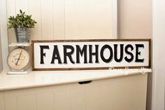 "HAND PAINTED Sign, Wooden With Trim, 36""x9""FARMHOUSE Sign, Black Lettering, Vintage Inspired, Blogger, Gallery Wall by DownGraceLane on Etsy"