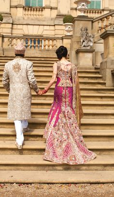 Traditionally for a South Asian Indian bride, they always wore red. A red suit, lengha or saree. There has been a rise of pink asian bridal wear. Big Fat Indian Wedding, Indian Wedding Outfits, Bridal Outfits, Wedding Attire, Indian Outfits, Bridal Dresses, Indian Weddings, Wedding Photoshoot, Wedding Bride
