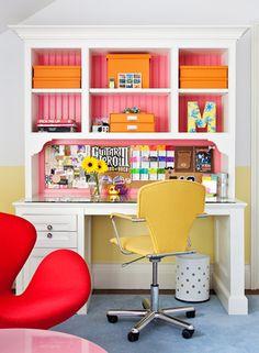 Girly desk space. Girl's room.