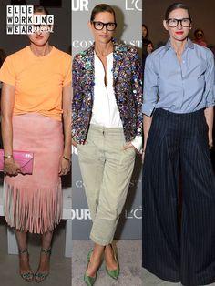 """2017年4月3日に「J.クルー」のクリエイティブ ディレクター兼社長の退任を発表したジェナ・ライオンズ。カラフルでモダンでプレッピーな「J.クルー」のポリシーは、彼女のスタイルそのもの。まさに働くモード女子のお手本と言える、シャツやボーダー、黒のパンツといったワードローブの定番服を遊び心たっぷりに着こなした、""""ジェナスタイル""""のエターナルな魅力をプレイバック! Mode Outfits, Fashion Outfits, Love Her Style, Fashion Stylist, Work Fashion, Minimalist Fashion, Casual Chic, Celebrity Style, Jenna Lyons"""