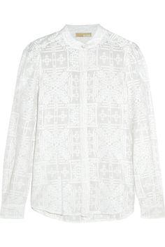 MICHAEL MICHAEL KORS Embroidered Cotton And Silk-Blend Blouse. #michaelmichaelkors #cloth #blouse