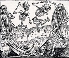 Michael Wolgemut Dance of Death 1493 Woodcut leaf from The Nuremberg Chronicle 7.5 x 8.75 in.