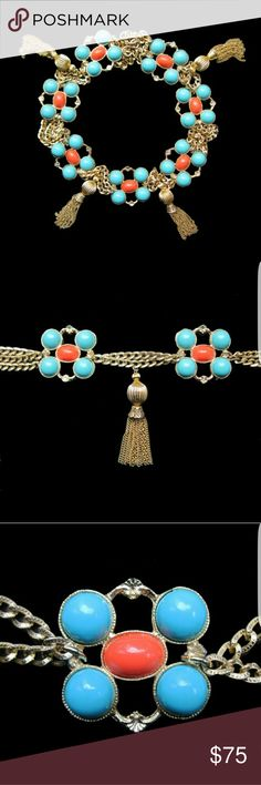 """KJL style turquoise and coral chain belt This is very Palm Beach chic and reminiscent of the style of jewelery designer Kenneth Jay Lane.  The belt feature turquoise and coral cabochons set with gold tone tassels. It measures 37"""" in length and 2"""" wide. The tassels are 3.5' long. Accessories Belts"""