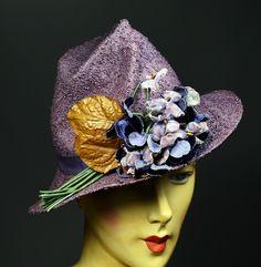 LAVENDER-GRAY TEXTURED STRAW LATE 1930's VINTAGE WOMEN's STYLIZED FEDORA TILT HAT - VELVET VIOLET NOSEGAY - FISK MODEL.  Available for sale at rpvintage.com.