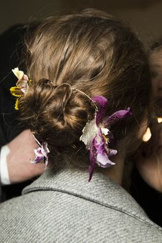 Flowers - Floral crowns, wrapped around buns and added to loose hair - Rodarte Fall 2016 Ready-to-Wear Fashion Show Hair Trend...x