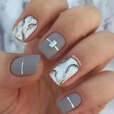 Marble & gray nail art