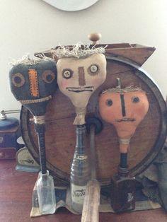 Primitive Halloween Pumpkin Crock Sticks by Rabbithollowprims, $10.00