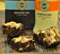 Ingredients: 1 Box DCD Truffle Fudge Brownie Mix ½ Cup DCD White Chocolate Mint Martini Mix 4 oz. cream cheese, softened 1 stick of butter, melted 2 eggs